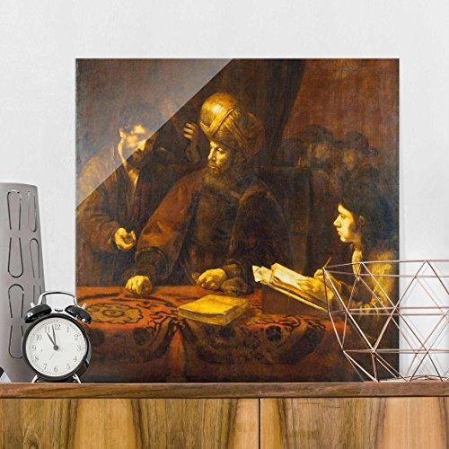 Bilderwelten Glasbild - Kunstdruck Rembrandt van Rijn - Gleichnis von den Arbeitern im Weinberg - Quadrat 1:1, Wandbild Glas Bild Druck auf Glas Glasdruck, Größe HxB: 30cm x 30cm