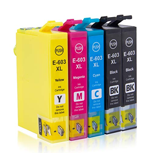 Labelwell 603XL Ersatz für Epson 603XL 603 XL Patronen Kompatibel für Epson Expression Home XP-2100 XP-2105 XP-3100 XP-3105 XP-4100 XP-4105 Drucker (5-Pack, 2 Schwarz, 1 Cyan, 1 Magenta, 1 Gelb)