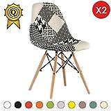 MOBISTYL Promo 2 x Chaise Design Inspiration Eiffel Pieds Bois Clair Assise Patchwork Noir Blanc DSWL-PN-2