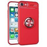 BtDuck iPhone 8 Hülle mit Ring, Soft Ultra Slim Matt Dünn Silikon Hülle für iPhone 7/iPhone 8 mit Metall Ring Handyhalterung Auto Magnet Ständer Smartphone Halter Ständer Ringhalter Hülle Rot