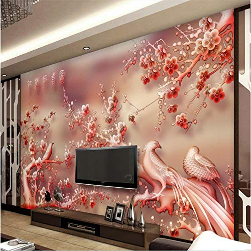 Benutzerdefinierte Fresken Jeder Größe Jade Geschnitzte Rote Pflaume Hallo Nachrichten Tv Sofa Hintergrund Tapeten Tapeten Für Wohnzimmer-430 * 300Cm
