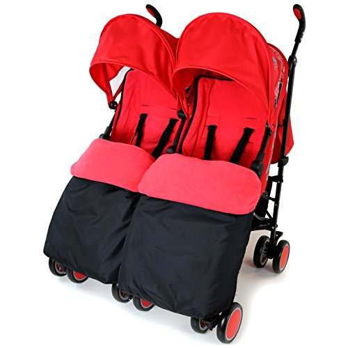 Zeta Citi TWIN Stroller Buggy Pushchair – Warm Red Double Stroller Complete With FootMuffs
