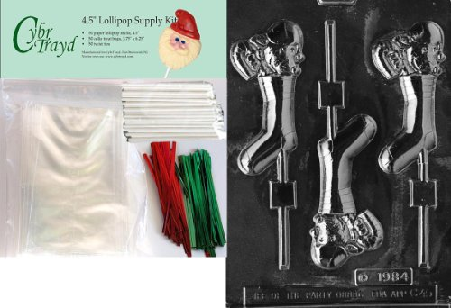 (Cybrtrayd 45stK50C-C045 Mouse in Stocking Lolly Christmas Chocolate Mold with Lollipop Kit, Includes 50 Lollipop Sticks, 50 Cello Bags, 25 Red and 25 Green Twist Ties)