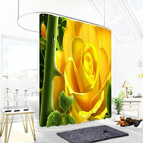 3D Gelbe Rose Grüner Zweig Drucken Verschönern Sie Das Badezimmer Visueller  Raum Wasserdicht Und Mehltau Verdickt