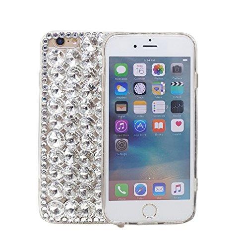 iPhone 7Plus 14cm 3D Handgefertigt Luxus Glitzer Transparent Strass Fall Full Kristalle Diamond Cover. Bling Diamant Fall, Silber Full Diamond Bling Snap