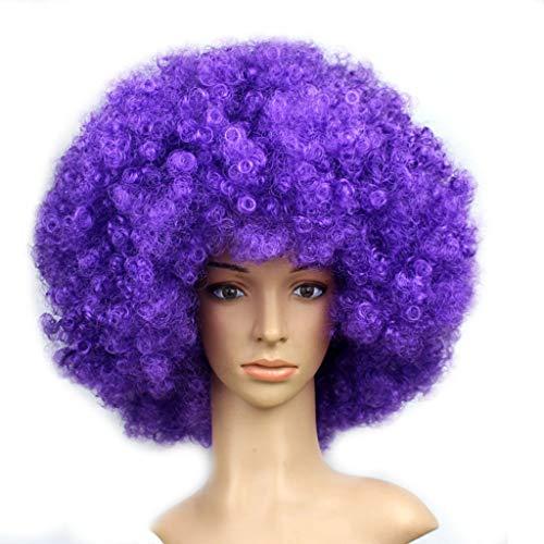 Luckhome Perücke Für Frauen Lockig Loose Wigs for Women Fiber Synthetic Hair Party Disco Lustige Afro Clown Haar Fußball Fan-Erwachsene Maskerade Flauschige Erwachsene Kinder Der(J)
