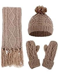 d6e71fb4e4ecd6 BaZhaHei Women's Diamond Twist Knitted Woolen Hat Scarf Gloves Three-Piece  Set Crochet Hat Knitted