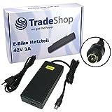 Trade-Shop Netzteil Ladegerät Ladekabel 42V 3A für 36V Akkus mit 10,45mm x 8,50mm 1Pin-Anschluss Stecker ersetzt HP1202L3 für Prophete Alu Trecking, Phylion, Aldi, Lidl, MiFa, Cyco, Curtis und McKenzie e-Bikes