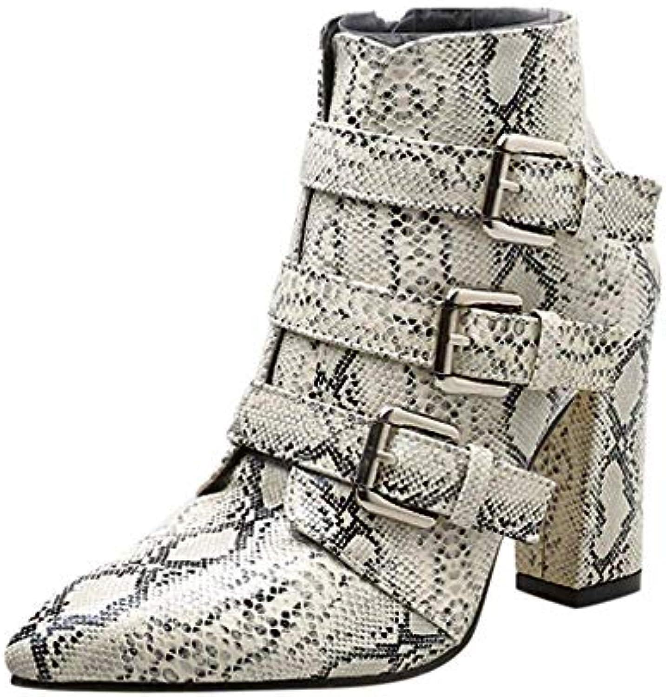 ZHRUI Stivali Scarpe da Donna Stivali Moda Donna Pelle di Serpente Modello Zip Cintura Fibbia Spessa Stivaletti... | Beni diversi  | Uomo/Donna Scarpa