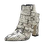 Knöchel Leopard Stiefel für Frauen Schuhe, 60er Jahre Winter High Chunky Heeled Schnürsenkel Einlegesohlen Zip Goth Chukka Martin Wüste Taktische Plattform Größe 3-10 (Farbe : Weiß, Größe : 4.5 UK)