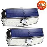 200 LED Luci Solari Esterno 【Versione più Recente】Luce Solare con Sensore di Movimento, 3 Modalità, IP67 Impermeabile, Lampada Solare per Garage, Cortile(2 Pezzi)