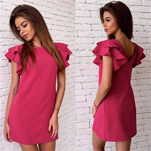 La Cabina Femme Sexy Mini Robe Casual Dos Nu Manches Papillon pour Ville Soirée Cocktail Rose