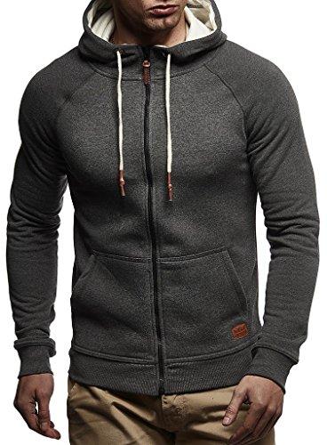 LEIF NELSON Herren Sweatjacke Kapuzenpullover Hoodie Pullover Jacke Sweatjacke Sweatshirt Longsleeve T-Shirt Langarm LN8124; Größe S, Anthrazit  