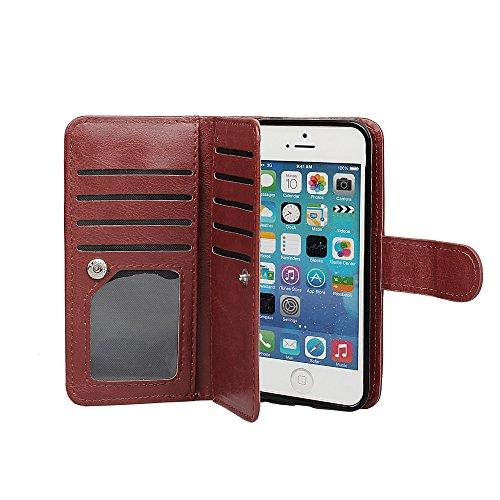 xhorizon FX Prämieleder Folio Case Magnetisch Wristlet Mappen-Geldbeutel Flip Multiple Card Slots Hülle für iPhone 5/5S mit einem 9H 0.25mm Hartglas Displayschutzfolie Kaffee