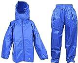 Dry Kids wasserdichtes 2er-Set Regenjacke und Regenhose, aus Polyester, reflektierend, in Blau, geeignet für Jungen und Mädchen, ab 13 bis 14 Jahren
