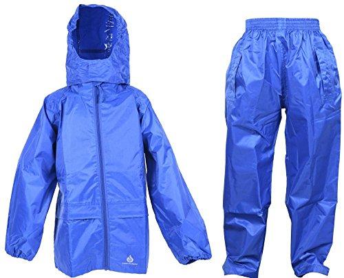 Dry Kids wasserdichtes 2er-Set Regenjacke und Regenhose, aus Polyester, reflektierend, in Blau, geeignet für Jungen und Mädchen, ab 11 bis 12 Jahren