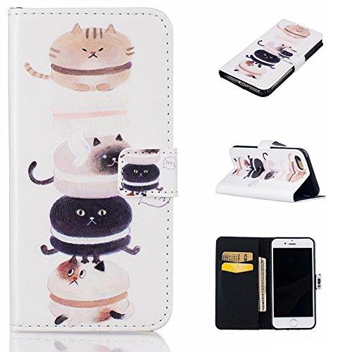 Ooboom® iPhone 6S/6 Plus Hülle Flip PU Leder Schutzhülle Handy Tasche Case Cover Wallet Standfunktion mit Kartenfächer Karte Halter für iPhone 6S/6 Plus - Hirsch Katze