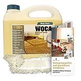 Woca Holzbodenseife natur 1 Liter inkl. Baumwollmop und Pflegeanleitung