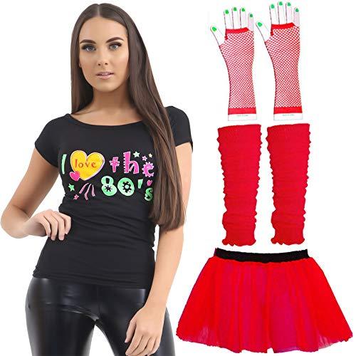 Labreeze Damen Tutu T-Shirt, Handschuhe, Beinwärmer, 80er Jahre, Junggesellinnenabschied, Neon-Festival, Rot (T-shirt Festival Roten)