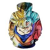 Hojoo 3D Hoodie Pullover Mit Kapuze Sweatshirt Große Tasche Anime Cosplay Reißverschluss Super-Saiyajin XXXL
