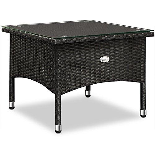 Polyrattan Tisch Beistelltisch Rattan Teetisch Gartentisch Glasplatte 50x50x45cm schwarz Garten Möbel - 6