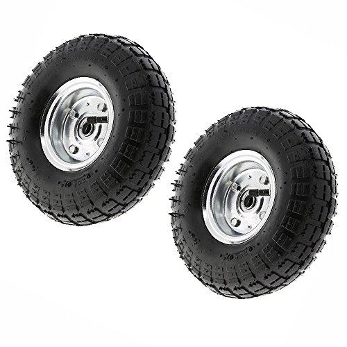 4 Pneumatische Rollen (2x 10Pneumatische Sackkarre Trolley Schubkarre Reifen Reifen Rollen 4.10/3.5-4.0)
