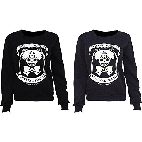 iBaste Pullover Damen Langarmshirt Sweatshirt Rundkragen Bluse Hemd Schwarz B