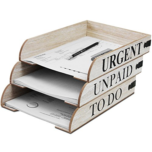 Set di 3 vassoi in legno Mail in 3 varianti, 31 x 22,5 x 5,5 cm, impilabili, organizer per corrispondenza