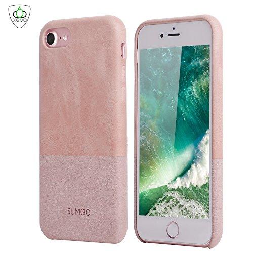 PhoneStar Copertura del cuoio Backcover Cover protettiva Casi di pelle e camoscio [extra sottile - Twin Edition] per Apple iPhone 7 in rosato