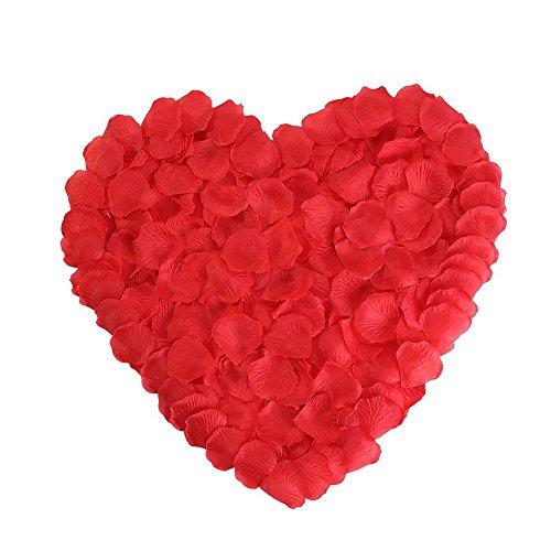 Simuer petali di rosa, 2000pcs artificiali fiori rossa in seta flower confetti decorazioni per proposta di matrimonio, san valentino e fidanzamento