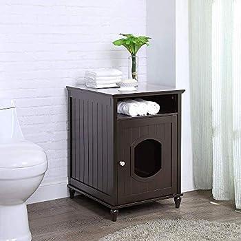 unipaws Banc de Rangement pour Toilettes pour Chat, Couvercle de la litière, Structure en Bois Robuste, Rangement Spacieux, Assemblage Facile (Espresso Small)