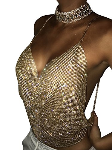 Simplee Apparel Women's Cross Back Halter Neck Sequin Cami Strap Crop Top Blouse Clubwear