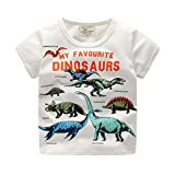Hirolan Bekleidung Sommerkleid Babyshirt Kleinkind Kinder Jungen Kleider Kurzarm Dinosaurier Drucken Oberteile T-Shirt Bluse Unisex Baby T-Shirt (100, Weiß)