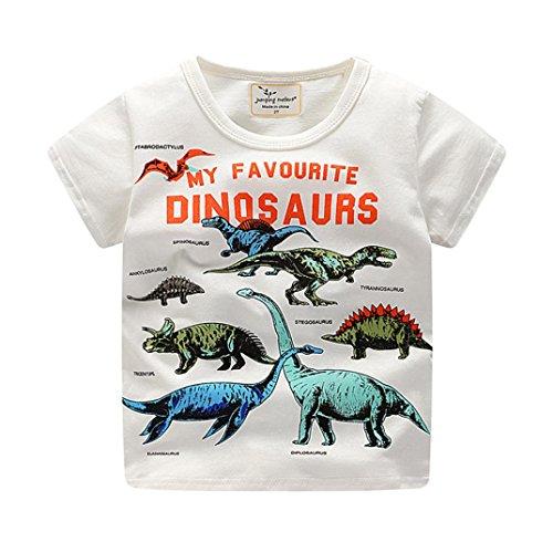 Bekleidung Sommerkleid Hirolan Babyshirt Kleinkind Kinder Jungen Kleider Kurzarm Dinosaurier Drucken Oberteile T-Shirt Bluse Unisex Baby T-Shirt (120, Weiß) (Ein Badeanzug Solide Stück Tank)