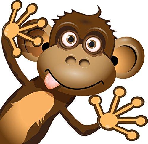 Etaia 10x10 cm Lustiger Auto Aufkleber AFFE - rechts - Äffchen Monkey Fun Gag Cartoon Kinder Sticker Motorrad