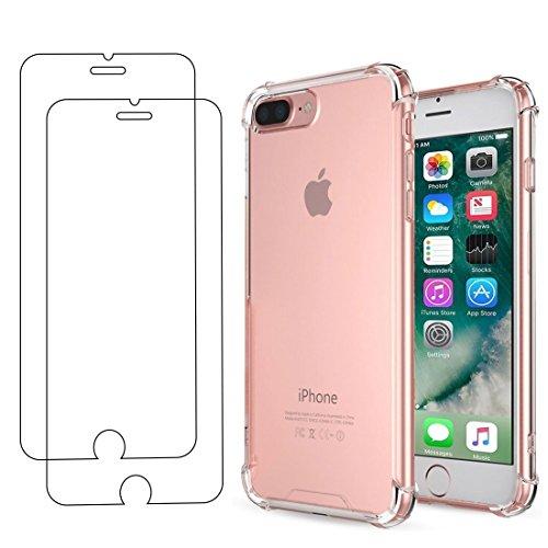 E-Mandala Apple iPhone 7 Plus 8 Plus Panzerglas Hülle Schutzfolie Displayschutzfolie Glas Folie Glasfolie Flim + Silikon Stoßfest Transparent Durchsichtig Tasche Handyhülle Bumper Schutzhülle Apple Iphone Premium Holster