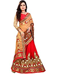 Siddeshwary Fab Women's Georgette Embroidered Saree With Blouse Piece (103_2Dsaree01_Red,Brown_Free Size)