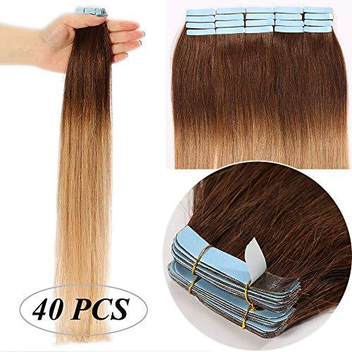 Extension capelli veri biadesivo shatush tape extensions adesive 40 fasce bioadesive/set 100g 100% remy human hair lisci (50cm, 4t27 castano medio ombre biondo scuro)