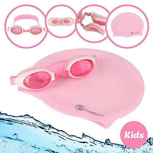 i-Swim Pro Kinder Schwimmen Schwimmbrille und Badekappe, Lange Lebensdauer Haltbarkeit mit Garantie, wasserdicht, einfach Verstellbare Riemen, Bequeme Passform