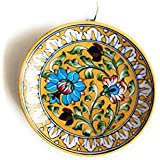 Aditya Blue Art Pottery Ceramic Decorative Wall Hanging Handmade Plate (15 Cm X 15 Cm X 3 Cm, ABP03)