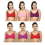 New Care Women's Full Coverage Bra (Multicolour, 32) - Pack of 6