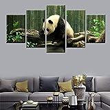 WHOOPS Toile Peinture 5 Panneau HD Impression Forêt De Bambou Panda Affiche Peinture Chambre des Enfants Chambre Décoration Décoration Murale 30 * 40 * 2 30 * 60 * 2 30 * 80 Cm sans Cadre