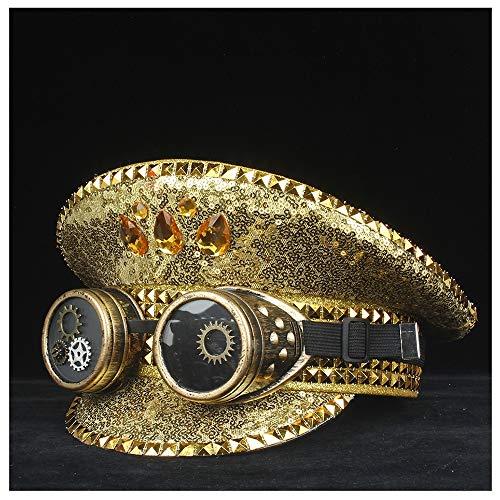 WANGXINQUAN Männer Frauen Steampunk Polizei Hut mit Ausrüstung Klassen Leistung Militär Hut Kapitän Hut Outdoor Guard Hut 3 Größe (Farbe : Gold, Größe : 61) -