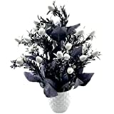 MIMOB Beautiful Artificial Flower Pot with Vase for Home Finest Material (Black Goli)