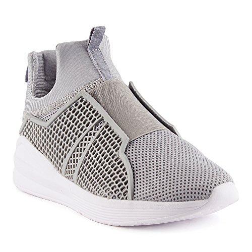 FiveSix Herren Sneaker Sportschuhe Laufschuhe Freizeitschuhe Slip-On Textilschuhe Netz Low-Top Schuhe Grau EU 43 (Herren Grau High-top-schuhe 10)