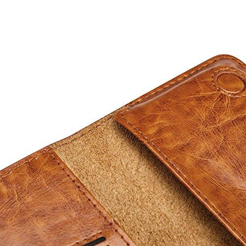 Portefeuille Cuir iPhone 6 6S 7 Plus, Jisoncase Porte-monnaie Etui Housse Coque en Cuir PU Wallet Case Cover pour Téléphone Portable Mobile Porte-Carte Fermeture Magnétique JS-BAO-01Q10-FR Noir Brown