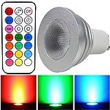 HF@12 Farben,Memory-Funktion, LED GU10 Glühbirne 4W RGB Helles Licht energiesparend mit Fernbedienung