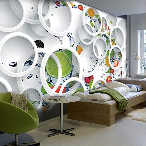 3D Mural Tapete Benutzerdefinierte Moderne Abstrakte Kunst Stereoskopischen Weißen Kreis Obst Große Wandmalerei Restaurant Küche Tapete (Dschungel-wc-papier)
