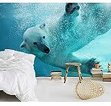 Moderne Naked Underwater Eisbär 3D Wallpaper Wandbilder Für Kinderzimmer 3D Fototapete Für Tv Hintergrund Wand, 430X300 Cm (169.29X118.11 In)