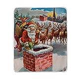 vinlin Weihnachtsmann Rentier Schlitten Samt Plüsch Überwurf, gemütlich, warm, leicht, Decke für Wohnzimmer Outdoor Reisen 127 x 152 cm